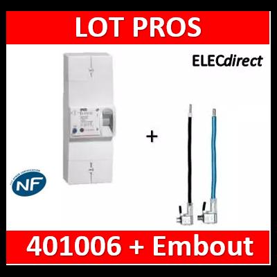 Legrand - Disjoncteur de branchement EDF 60A sélectif - non réglable - 500mA + embout EDF PH+N - 401006+embout