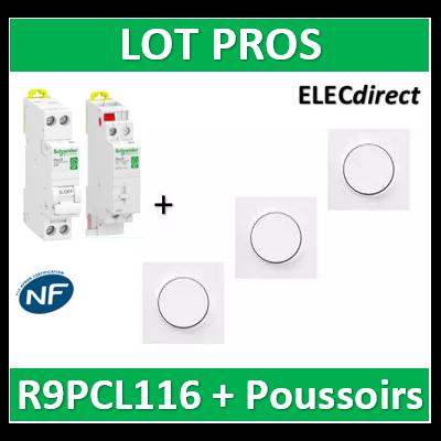 Schneider - Unipolaire 16A + DPN 10A + 3 Poussoirs Odace - R9PCL116+RPFC610+s520702x3+s520206x3