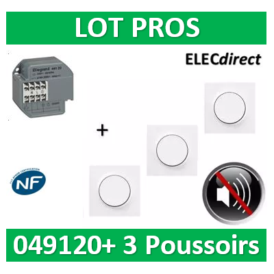 Schneider - Télérupteur Legrand - Unipolaire 16A + 3 Poussoirs Odace - 049120+s520702x3+s520206x3