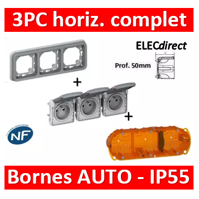 Legrand Plexo - Triple PC - complet - horizontal - IP55/IK07 - 069687+069564+080123