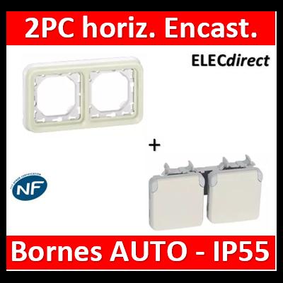 Legrand Plexo - Prises 2x2P+T horizontal précâblées Plexo encastré blanc - 16 A - 250 V - 069642+069694