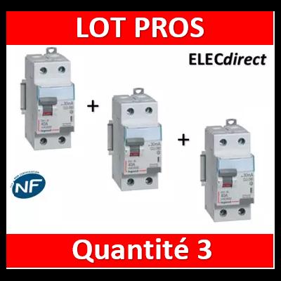 LEGRAND - Interrupteur Différentiel 2P - 63A - 30ma Type A Départ Bas - 411556x3