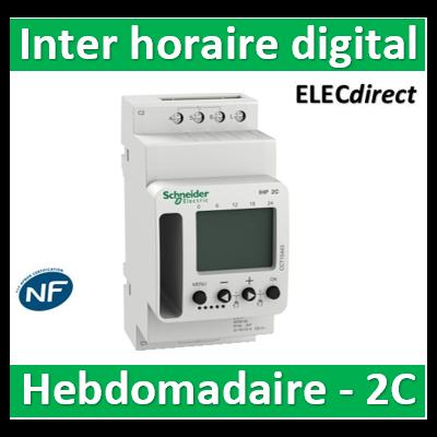 Schneider - Interrupteur horaire digital IHP'Clic hebdomadaire avec réserve de marche - 2 canaux - CCT15443