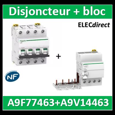 Schneider - Acti9 Vigi iC60 4P 63A 300mA type AC + Disjoncteur 4P 63A - A9V14463+A9F77463