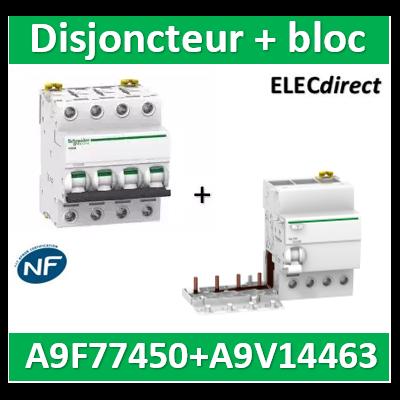 Schneider - Acti9 Vigi iC60 4P 63A 300mA type AC + disjoncteur 4P 50A - A9V14463+A9F77450