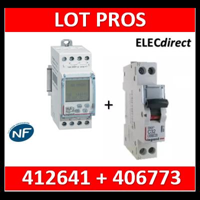 Legrand - Interrupteur horaire programmable digital - multifonction - AUTO - 2 sorties + DPN 10A - 412641+406773
