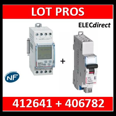 Legrand - Interrupteur horaire programmable digital - multifonction - AUTO - 2 sorties + DPN 10A - 412641+406782