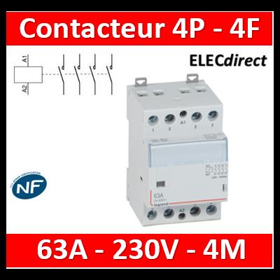 Legrand - Contacteur de puissance 4P bobine 230V - 63A - 4F - 4M - 412541