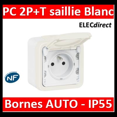 Legrand Plexo - Prise de courant 2P+T 16A 230V - IP55/IK07 - Blanc - 069689+069621