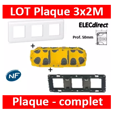 Legrand Mosaic - LOT - Plaque 3x2 modules - horizontal - Prof. 50 - 078806+080253+080033