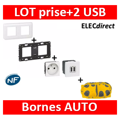 Legrand Mosaic - Prise + 2 USB complet - 2 postes (4M) - 230V