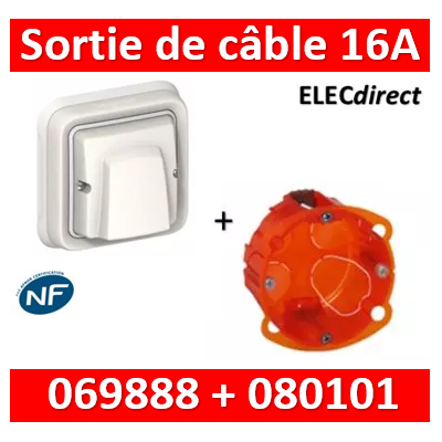 Legrand Plexo - Sortie de câble encastré - 16A - 230V - IP55/IK08 - Blanc + boîte batibox - 069888+080101