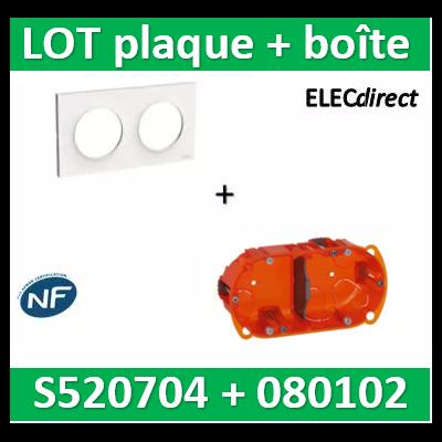 Schneider Odace - Plaque 2 postes + Boîte Batibox Legrand 2 postes - Hor/vert - s520704+080102