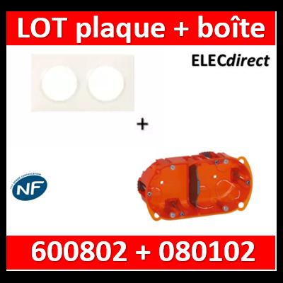 Legrand Dooxie - Plaque 2 postes + Boîte Batibox Legrand 2 postes - Hor/vert - 600802+080102
