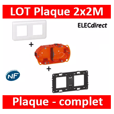 Legrand Mosaic - LOT - Plaque 2x2 modules - horizontal - 078804+080252+080102