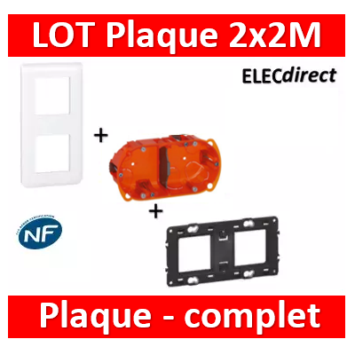 Legrand Mosaic - LOT - Plaque 2x2 modules - vertical - 078822+080252+080102