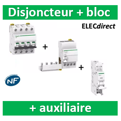Schneider - Disjoncteur 4P 40A 6kA - courbe D + Bloc Dif. 40A 30mA auxiliaire - A9F75440+A9Q11440+A9A26946
