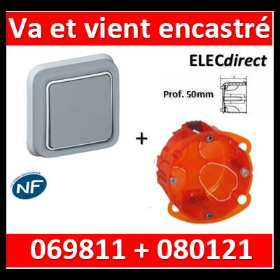 Legrand Plexo - Va-et-Vient encastré + boîte Batibox - Prof. 50 - IP55/IK07 - 069811+080121