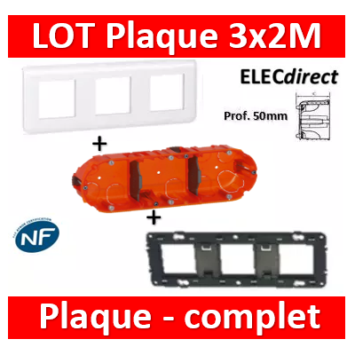 Legrand Mosaic - LOT - Plaque 3x2 modules - horizontal - Prof. 50 - 078806+080253+080123