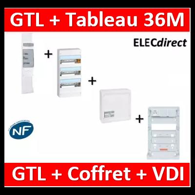 Legrand - Kit GTL 13M complet + tableau 36M + VDI 4RJ45 - 030037+401213+413248+ZA375