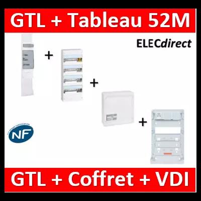 Legrand - Kit GTL 13M complet + tableau 52M + VDI 4RJ45 - 030037+401214+413248+ZA375