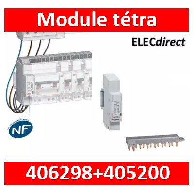 Legrand - Module de raccordement tétrapolaire + peigne 5M optimisé - 406298+405200