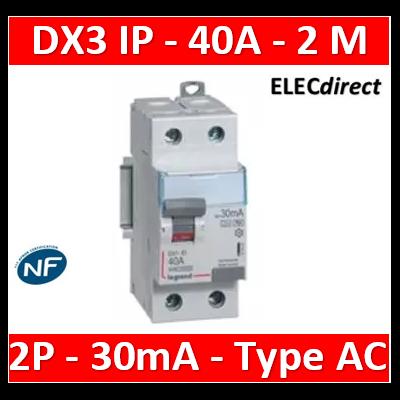 LEGRAND - Interrupteur différentiel dx³-id - vis/vis - 2p- 230v~-40a - type ac - 30ma - départ bas - 411505