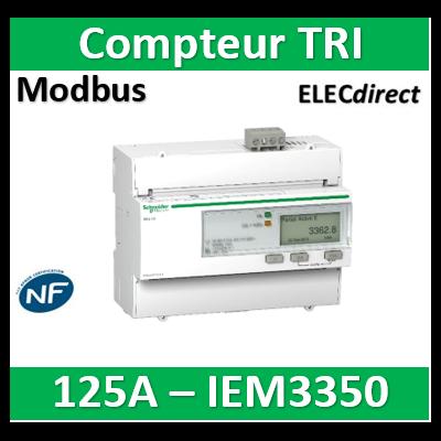 Schneider - Acti9 iEM - compteur d'énergie tri - 125A - Modbus - A9MEM3350
