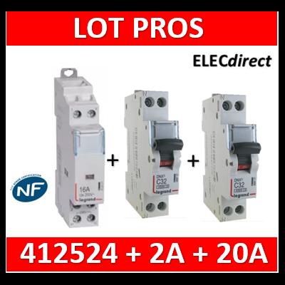 Legrand - LOT PROS - Contacteur 2P 25A - 2O + disjoncteur 2A DNX3 + disjoncteur 20A DNX3 - 412524+406771+406775