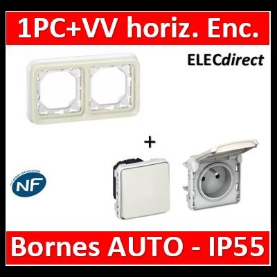 Legrand Plexo - PC 2P+T + VV - Encast. - horizontal - Blanc - IP55/IK07 - 069694+069621+069611