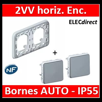 Legrand Plexo - 2 VV - Encast. - horizontal - IP55/IK07 - 069683+069511x2