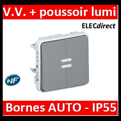Legrand - Va-et-vient lumineux + poussoir lumineux Legrand Plexo composable gris - 10 AX - gris 069519