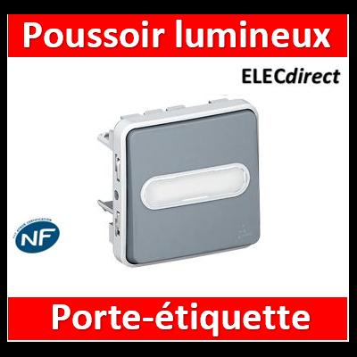 Legrand Plexo - Poussoir NO lumineux porte-étiquette Legrand Plexo composable gris - 10 A - 069543