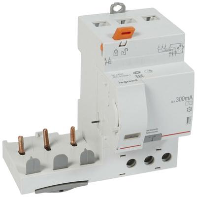 Legrand - Bloc diff adapt DX³-vis-3P-400 V~-63 A-type AC-300 mA-disj 1 mod/pôle - 410475
