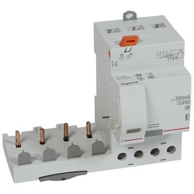 Legrand - Bloc différentiel adaptable DX3-vis-4P-400V~-63A-typeF-300mA-Disjoncteur 1mod/pôle-câbl trad - 410546