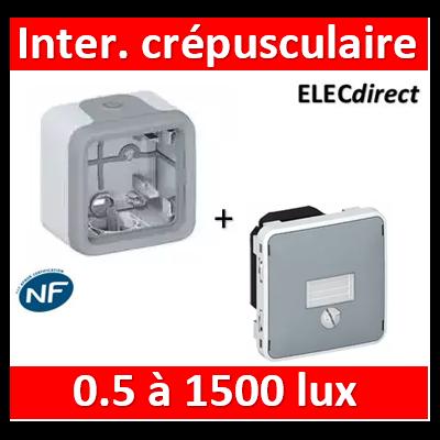 Legrand - Interrupteur crépusculaire Legrand Plexo saillie gris - 1400 W - 069517+069651