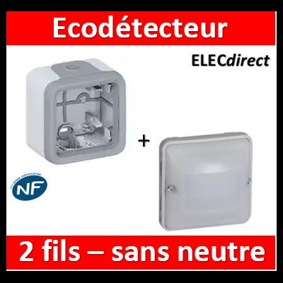 Legrand - EcoDétecteur Legrand Plexo 230V - 50 Hz - Sans neutre - 2 fils - saillie - Gris/Blanc - 069520+069651