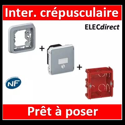 Legrand - Interrupteur crépusculaire Legrand Plexo encastré - gris - 1400 W - 069517+069681+080141