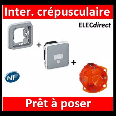 Legrand - Interrupteur crépusculaire Legrand Plexo encastré - gris - 1400 W - 069517+069681+080121
