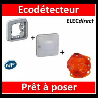 Legrand - EcoDétecteur 230V - 50 Hz - Sans neutre - encastré - 2 fils Gris/Blanc - 069520+069681+080121