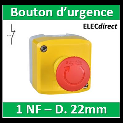 Schneider - BHarmony XAL - boite jaune arrêt urgence rouge - pousser tourner - 1NO Fermé au repos - Ø40 - XALK178