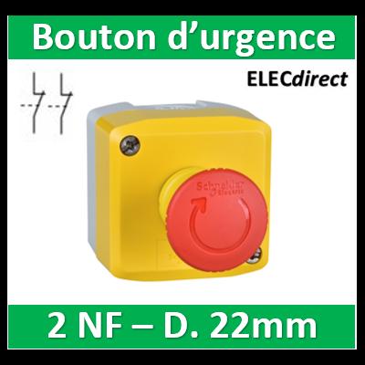 Schneider - boite jaune arrêt urgence rouge - pousser tourner - 2NF Fermés au repos - Ø40 - XALK178F