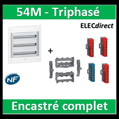 Schneider - Coffret électrique PRAGMA - encastré - 54M - 3R de 18M  triphasé - PRA32318+LGYT601R+R9H13411x2