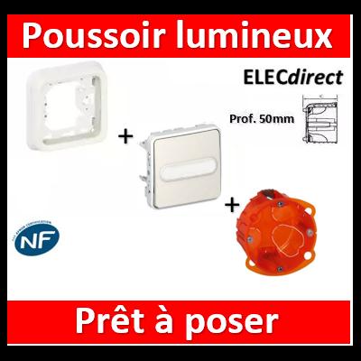 Legrand - Poussoir NO lumineux à porte-étiquette Plexo encastré blanc + boîte batibox - 069633+069692+080121