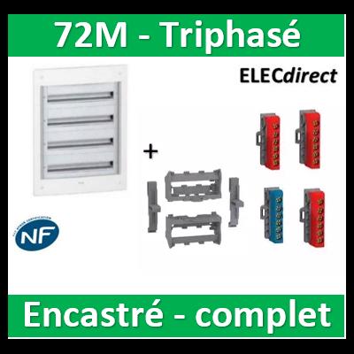 Schneider - Coffret électrique PRAGMA - encastré - 72M - 3R de 18M triphasé - PRA32418+LGYT601R+R9H13411x2