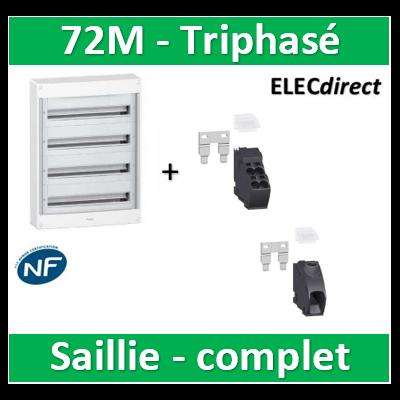 Schneider - Coffret électrique PRAGMA 72M - 4R de 18M triphasé - PRA13754+PRA90046+PRA90047