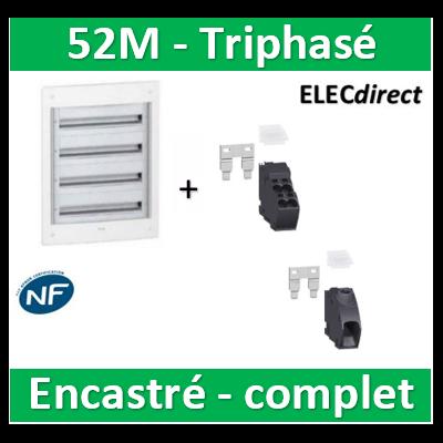 Schneider - Coffret électrique PRAGMA - encastré - 52M - 4R de 13M - Triphasé - PRA32413+PRA90046+PRA90047