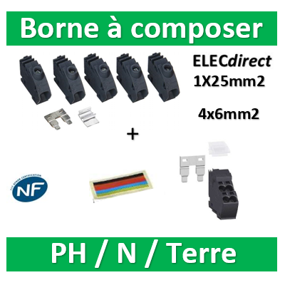 Schneider - Pragma Kit Bornier 4x6mm2 Lot de 10 + kit bonier 1x25mm2 lot de 5 - PRA90046+PRA90047