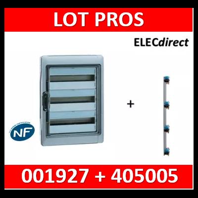 Legrand - Coffret Plexo 4x18 modules avec embouts à perf. + peigne vertical - 001927+405005