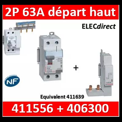 LEGRAND - Interrupteur Différentiel 2P - 63A - 30ma Type A Départ Haut + module - 411556+406300